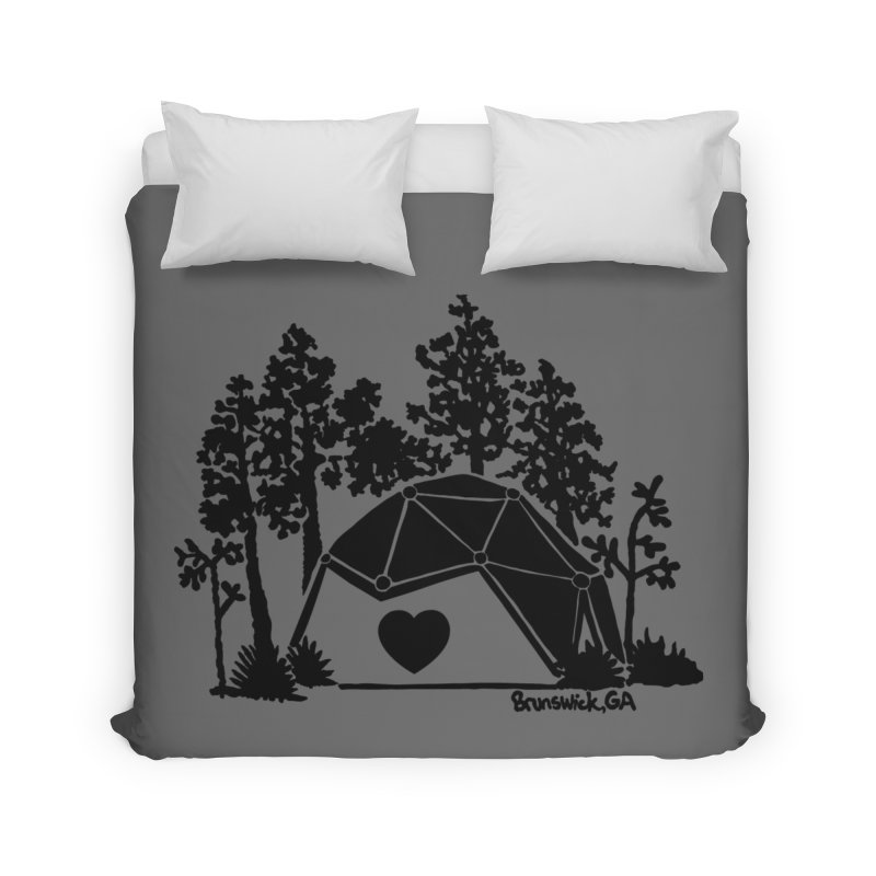 Hostel in the Forest Dome Heart, on a grey background Home Duvet by Hostel in the Forest