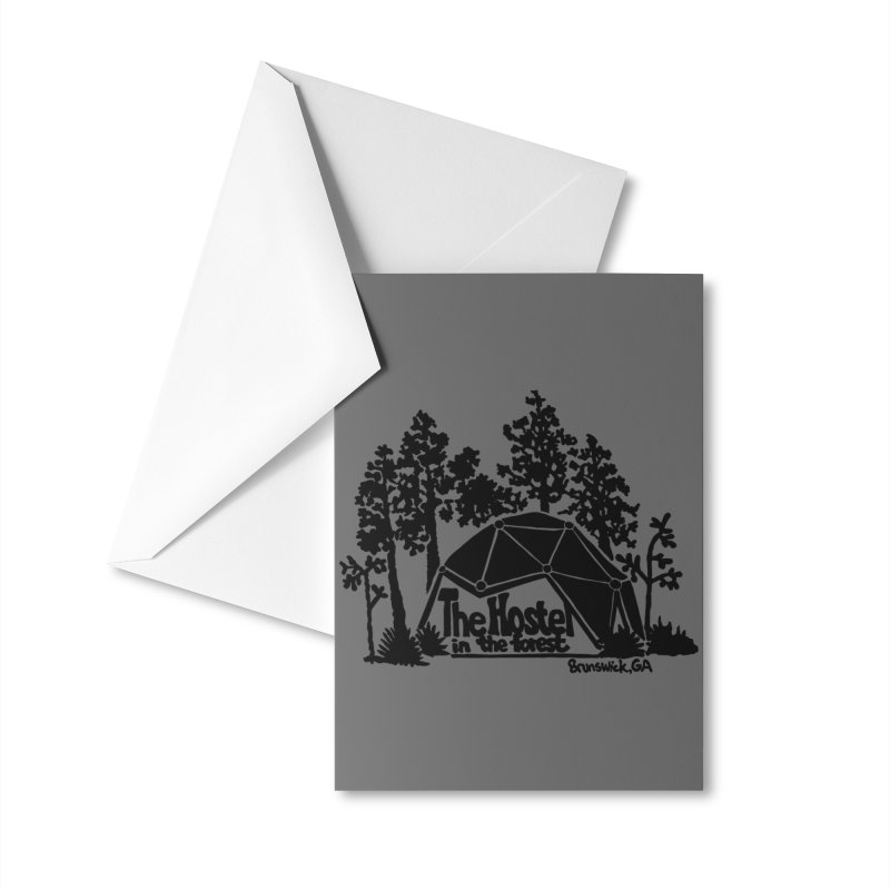 Hostel in the Forest Dome Logo, on a grey background Accessories Greeting Card by Hostel in the Forest