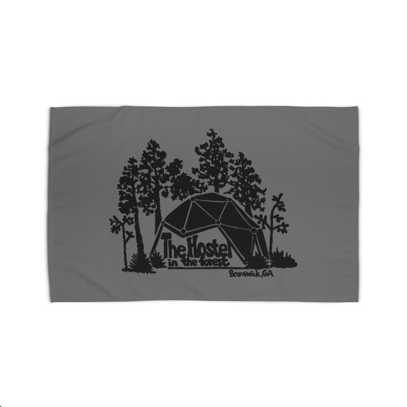 Hostel in the Forest Dome Logo, on a grey background Home Rug by Hostel in the Forest
