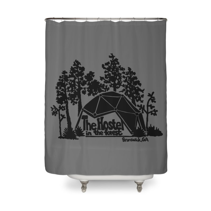Hostel in the Forest Dome Logo, on a grey background Home Shower Curtain by Hostel in the Forest
