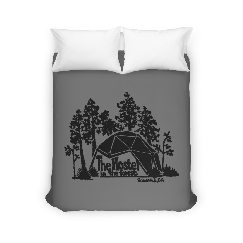 Hostel in the Forest Dome Logo, on a grey background Home Duvet by Hostel in the Forest