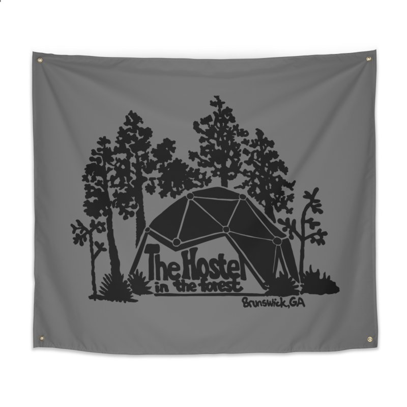 Hostel in the Forest Dome Logo, on a grey background Home Tapestry by Hostel in the Forest
