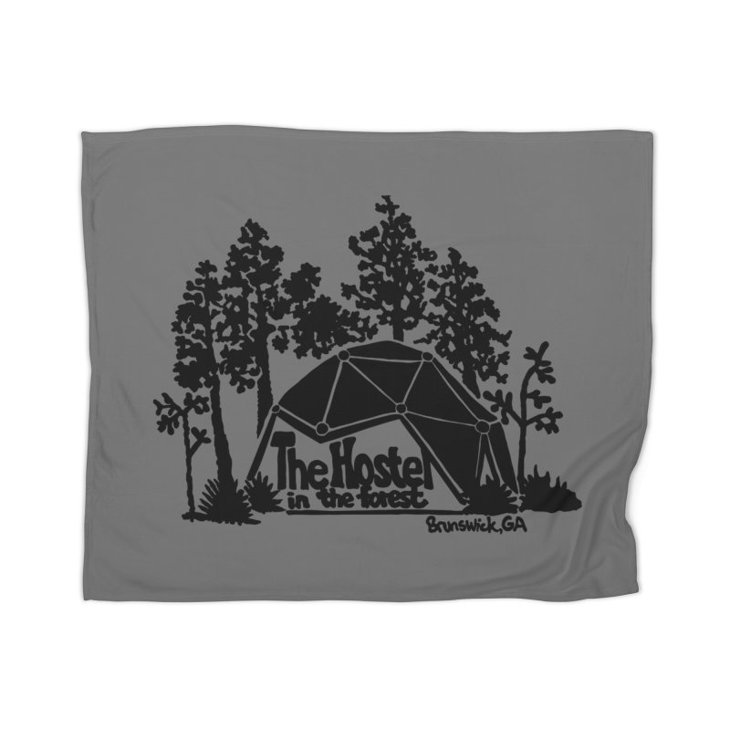 Hostel in the Forest Dome Logo, on a grey background Home Blanket by Hostel in the Forest