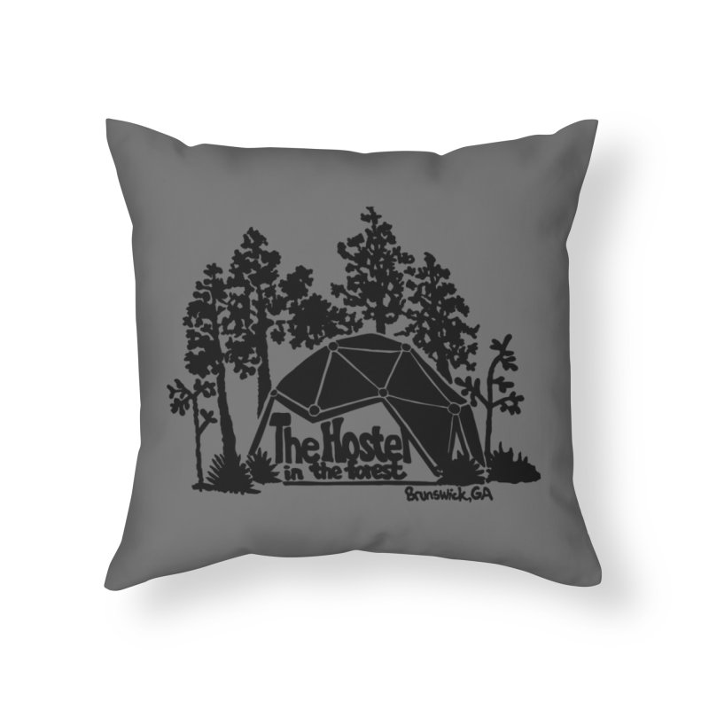 Hostel in the Forest Dome Logo, on a grey background Home Throw Pillow by Hostel in the Forest