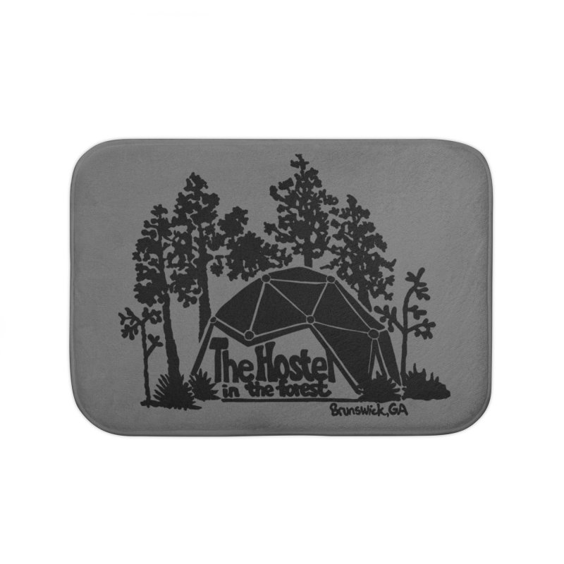 Hostel in the Forest Dome Logo, on a grey background Home Bath Mat by Hostel in the Forest