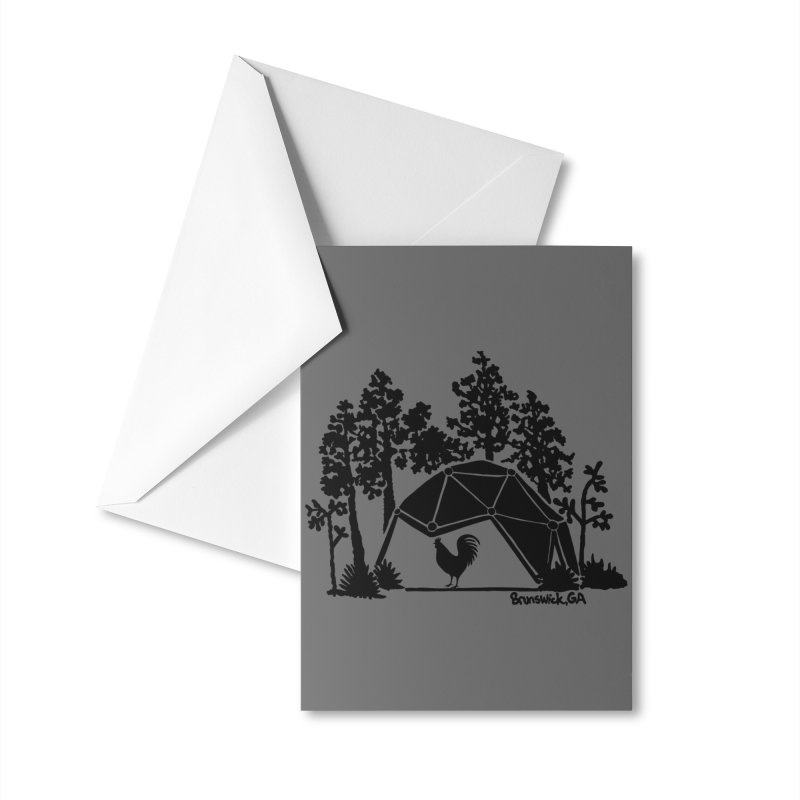 Hostel in the Forest Dome Rooster, on a grey background Accessories Greeting Card by Hostel in the Forest