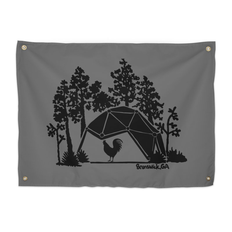 Hostel in the Forest Dome Rooster, on a grey background Home Tapestry by Hostel in the Forest