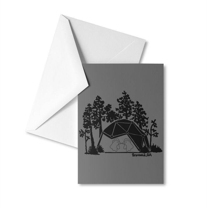 Hostel in the Forest Dome Chickens, on a grey background Accessories Greeting Card by Hostel in the Forest