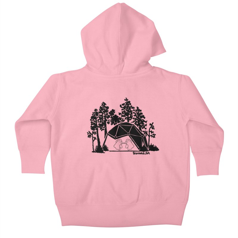 Hostel in the Forest Dome Chickens, on a grey background Kids Baby Zip-Up Hoody by Hostel in the Forest