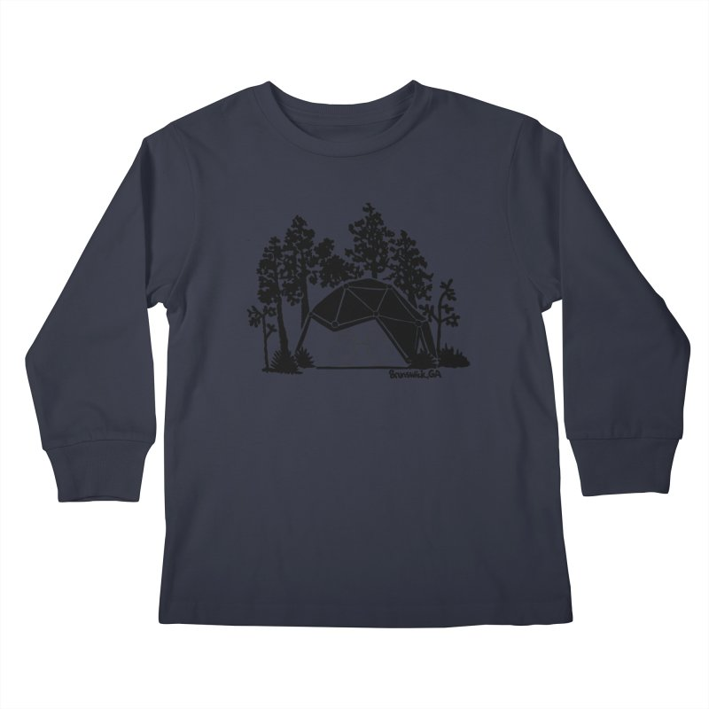 Hostel in the Forest Dome Chickens, on a grey background Kids Longsleeve T-Shirt by Hostel in the Forest