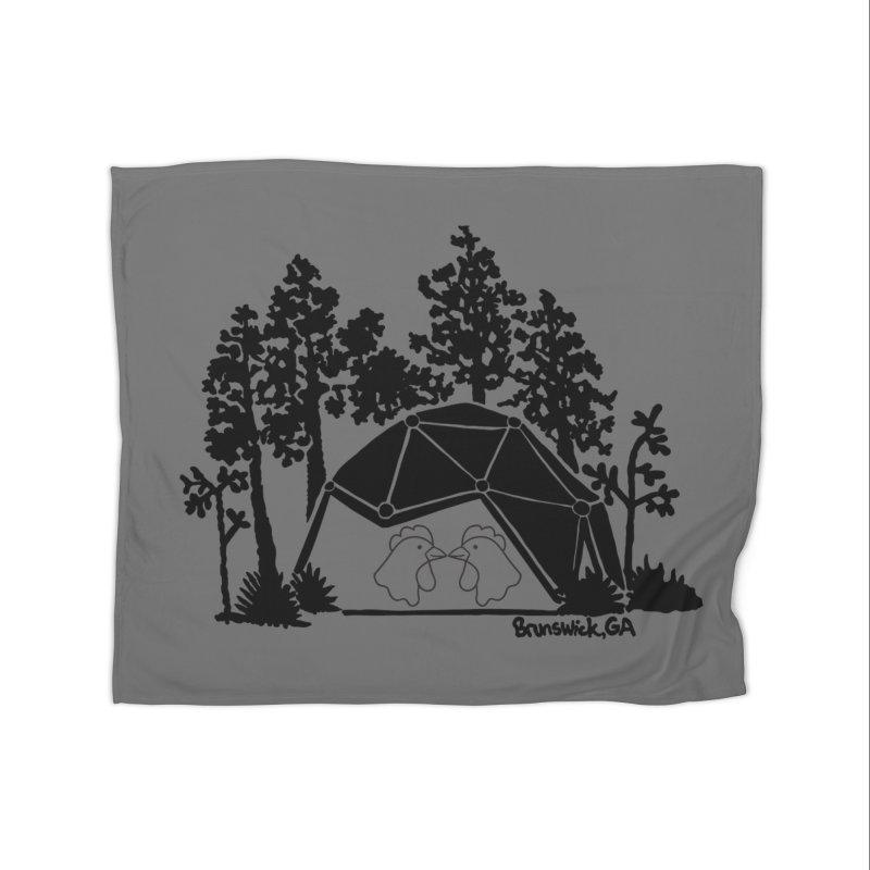 Hostel in the Forest Dome Chickens, on a grey background Home Blanket by Hostel in the Forest