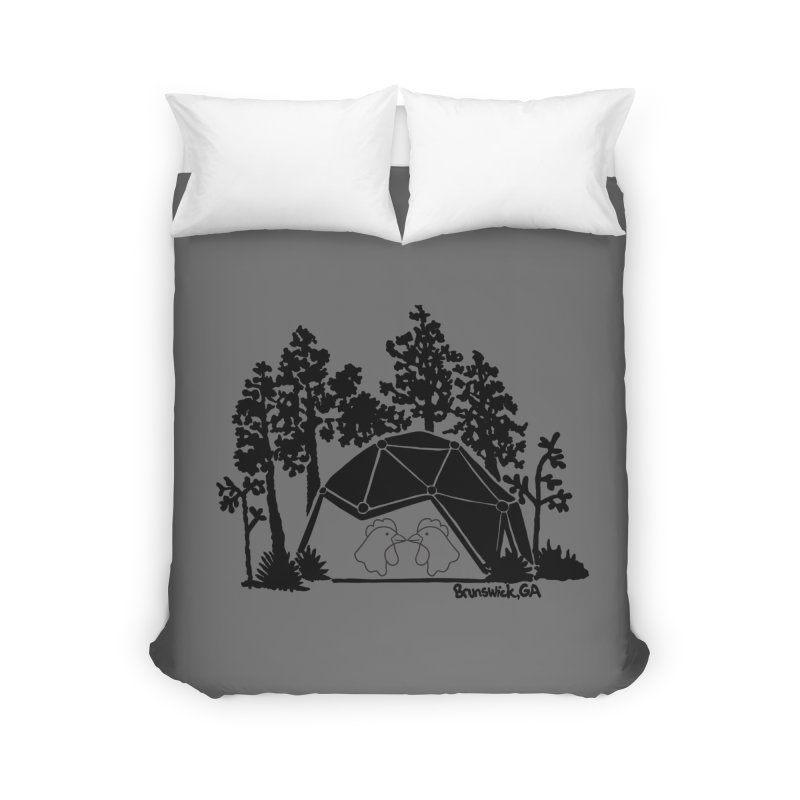 Hostel in the Forest Dome Chickens, on a grey background Home Duvet by Hostel in the Forest
