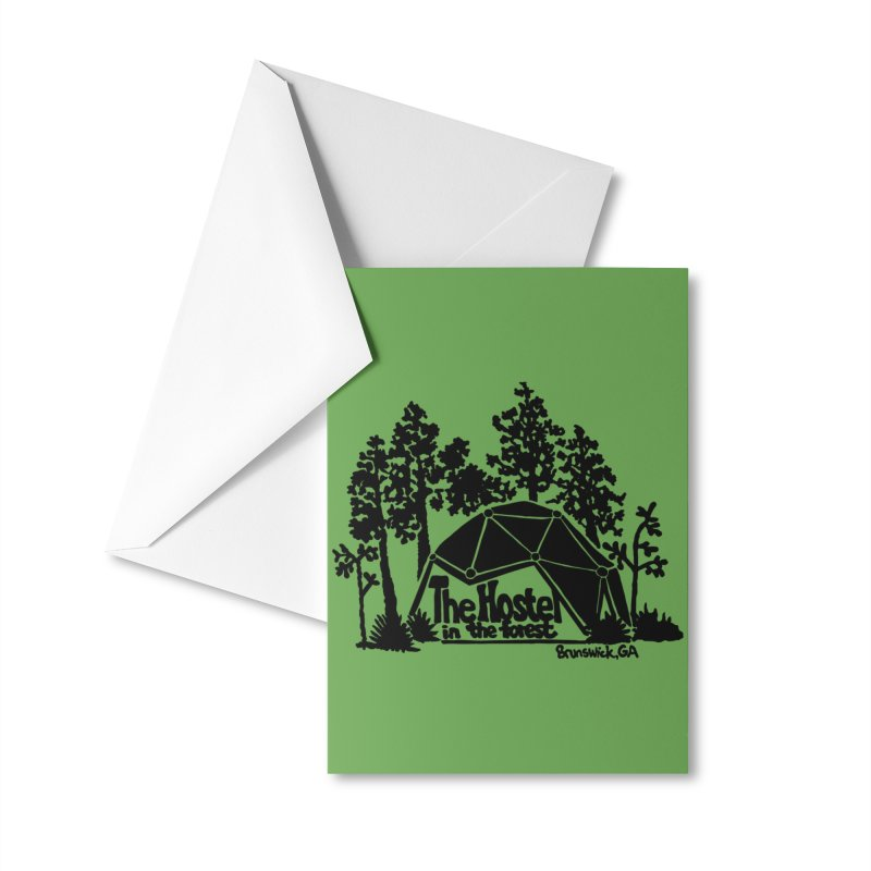 Hostel in the Forest Dome Logo, on a green background Accessories Greeting Card by Hostel in the Forest