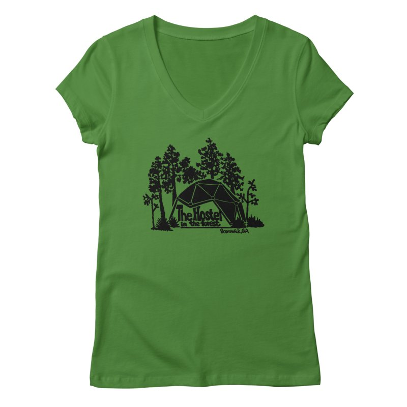 Hostel in the Forest Dome Logo, on a green background Women's V-Neck by Hostel in the Forest