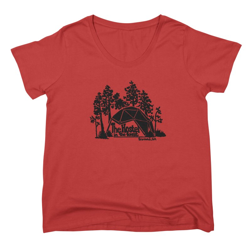 Hostel in the Forest Dome Logo, on a green background Women's Scoop Neck by Hostel in the Forest