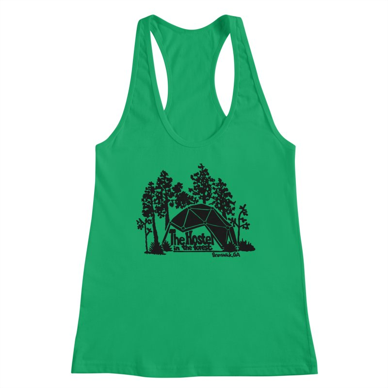 Hostel in the Forest Dome Logo, on a green background Women's Tank by Hostel in the Forest