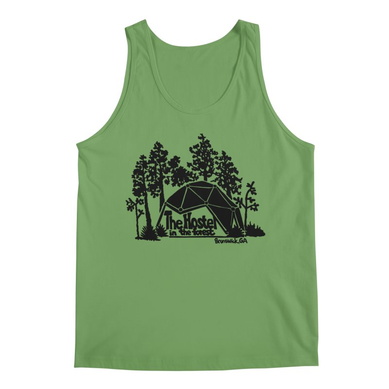 Hostel in the Forest Dome Logo green background Men's Tank by Hostel in the Forest
