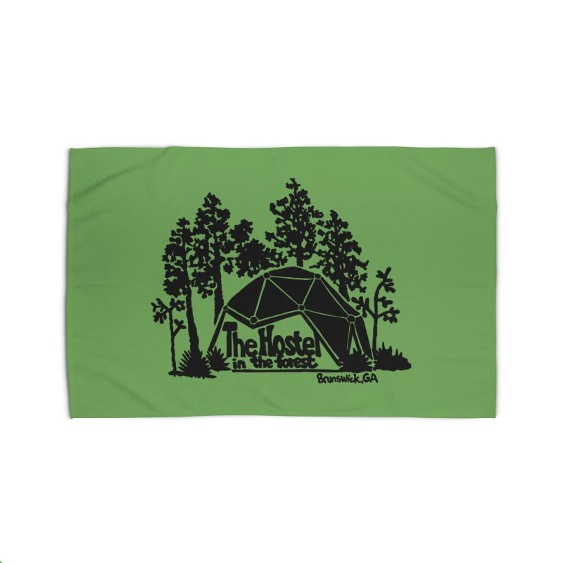 Hostel in the Forest Dome Logo, on a green background Home Rug by Hostel in the Forest
