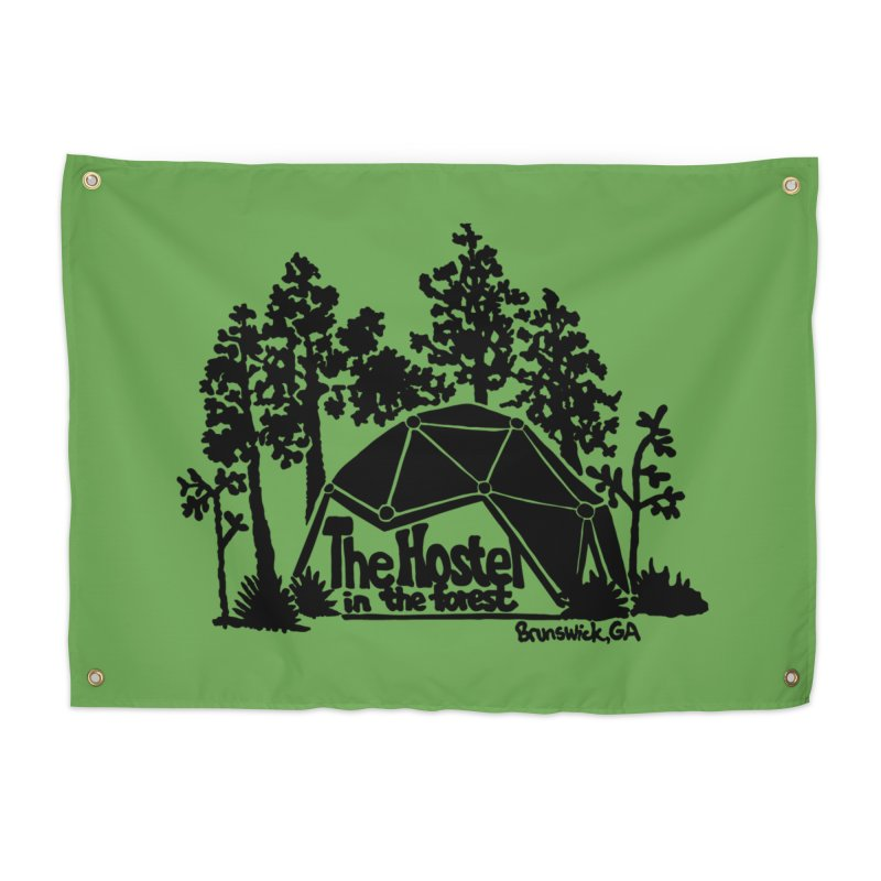Hostel in the Forest Dome Logo, on a green background Home Tapestry by Hostel in the Forest