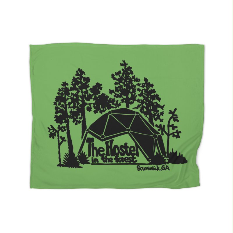 Hostel in the Forest Dome Logo, on a green background Home Blanket by Hostel in the Forest