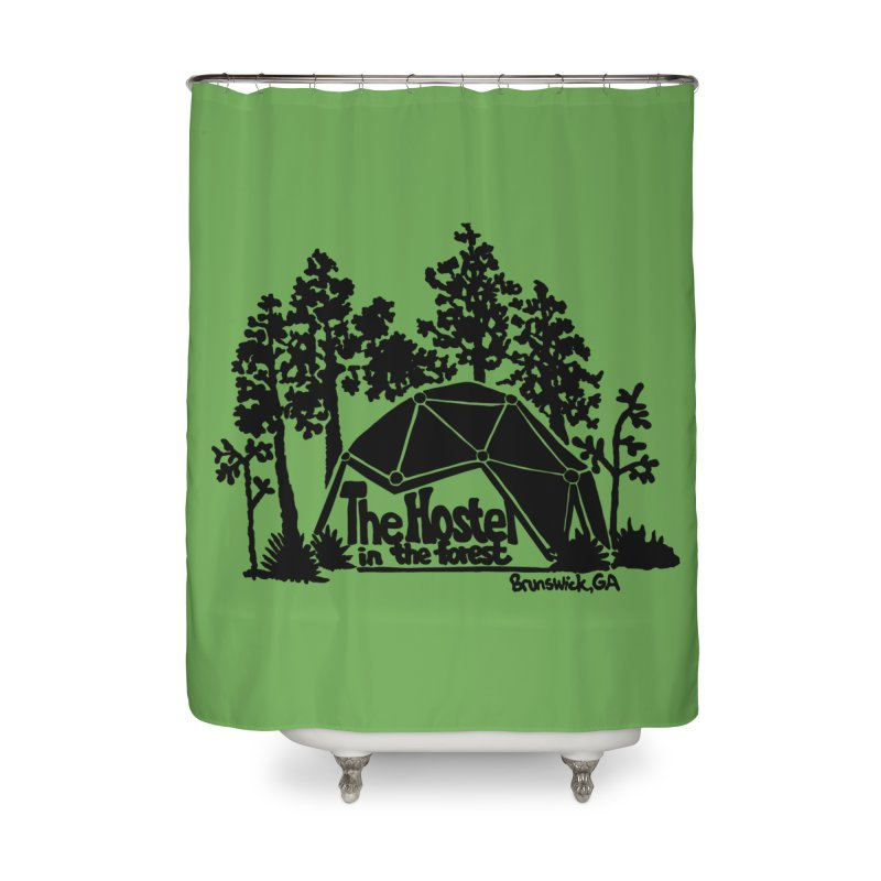 Hostel in the Forest Dome Logo, on a green background Home Shower Curtain by Hostel in the Forest