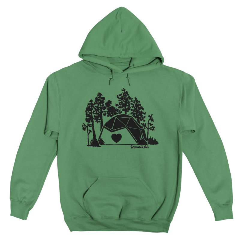 Forest in the Hostel Dome Heart, on a green background Women's Pullover Hoody by Hostel in the Forest