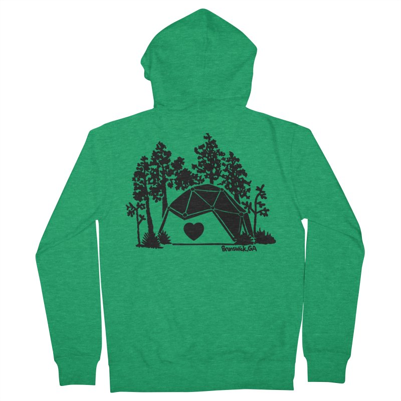 Forest in the Hostel Dome Heart, on a green background Women's Zip-Up Hoody by Hostel in the Forest