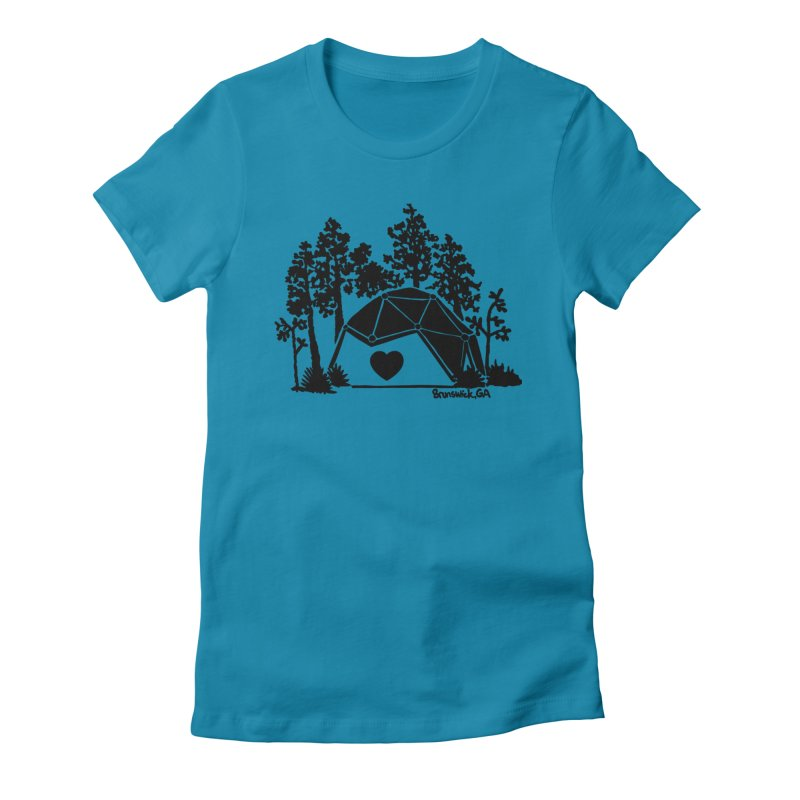 Forest in the Hostel Dome Heart, on a green background Women's T-Shirt by Hostel in the Forest