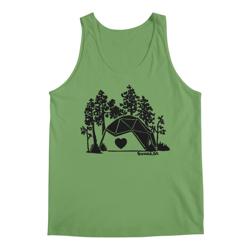 Forest in the Hostel Dome Heart green background Men's Tank by Hostel in the Forest
