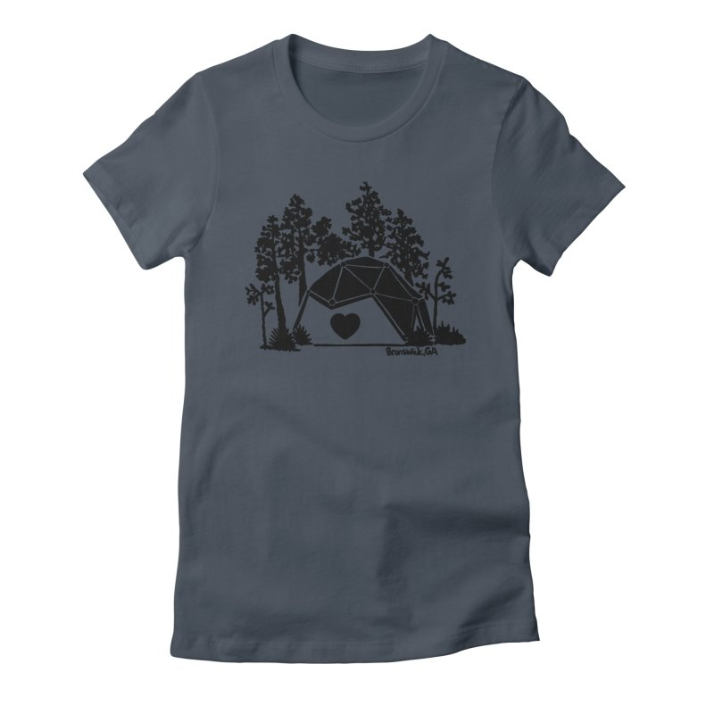 Forest in the Hostel Dome Heart green background Women's T-Shirt by Hostel in the Forest