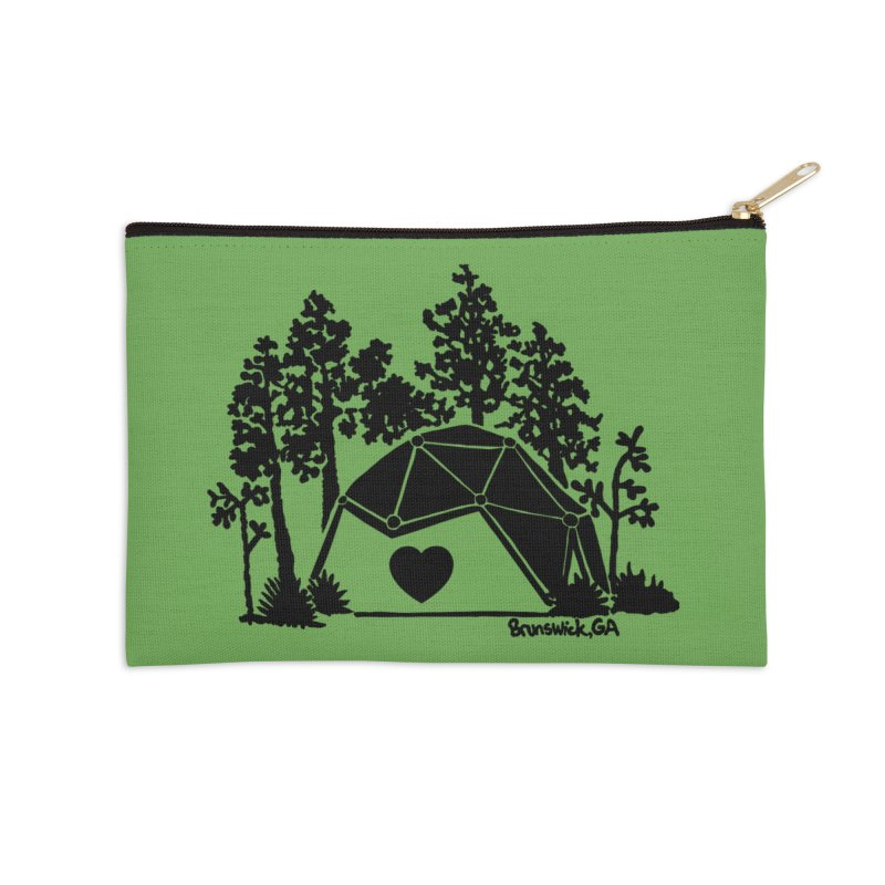 Forest in the Hostel Dome Heart green background Accessories Zip Pouch by Hostel in the Forest