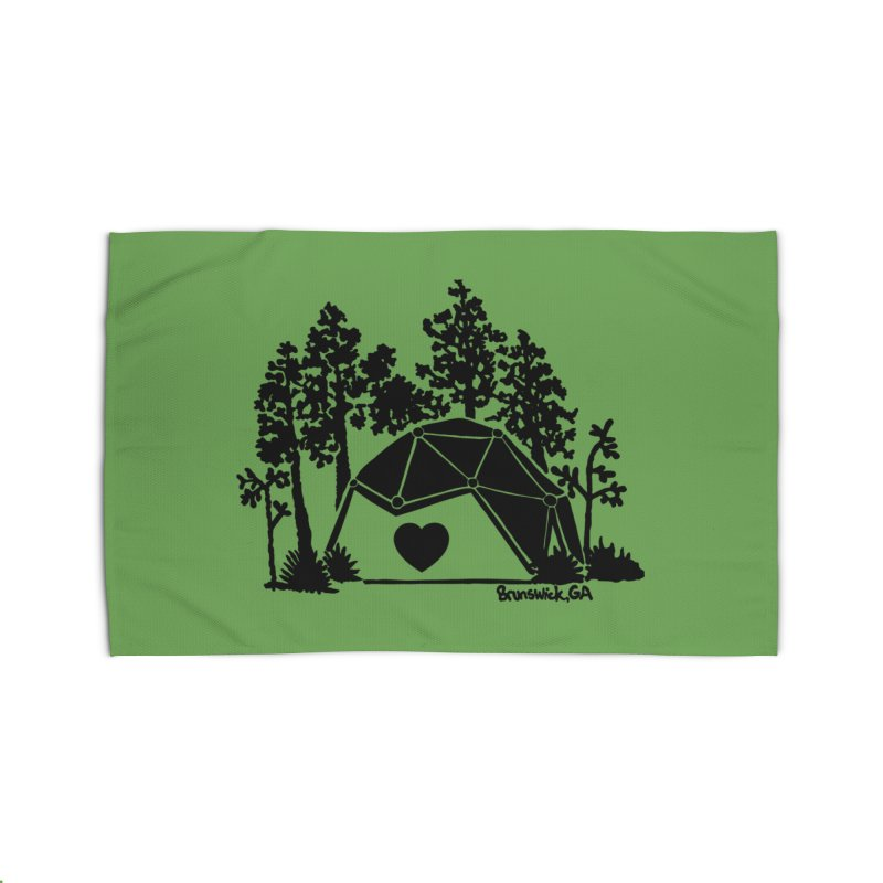 Forest in the Hostel Dome Heart, on a green background Home Rug by Hostel in the Forest