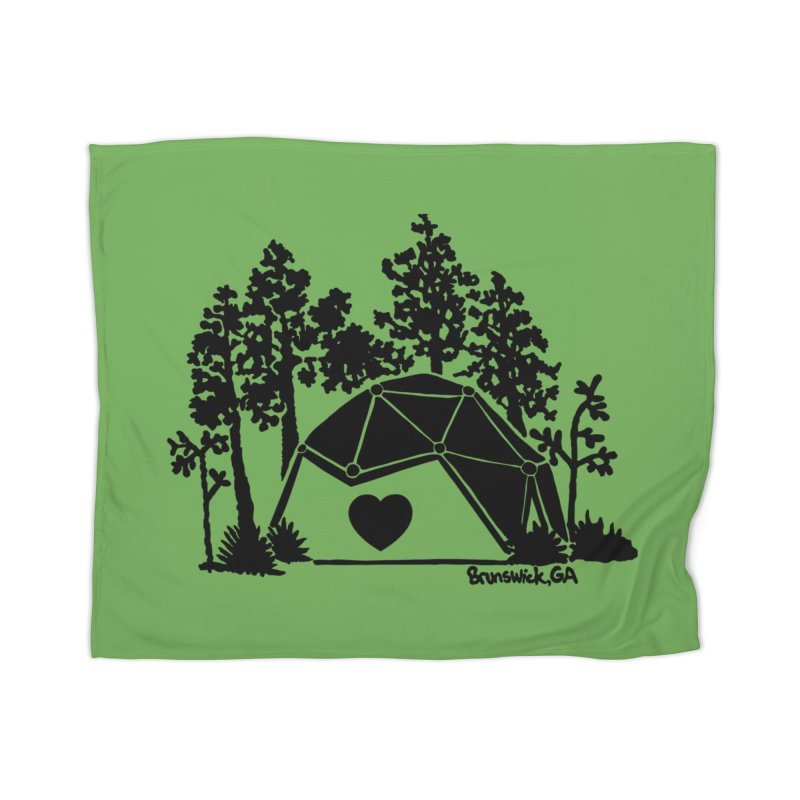Forest in the Hostel Dome Heart, on a green background Home Blanket by Hostel in the Forest