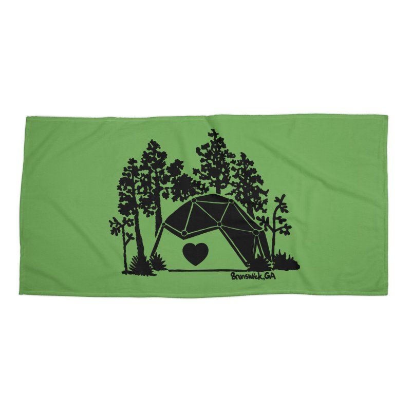Forest in the Hostel Dome Heart green background Accessories Beach Towel by Hostel in the Forest