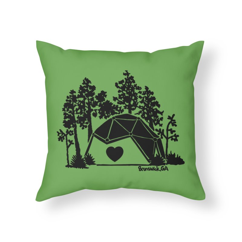 Forest in the Hostel Dome Heart, on a green background Home Throw Pillow by Hostel in the Forest