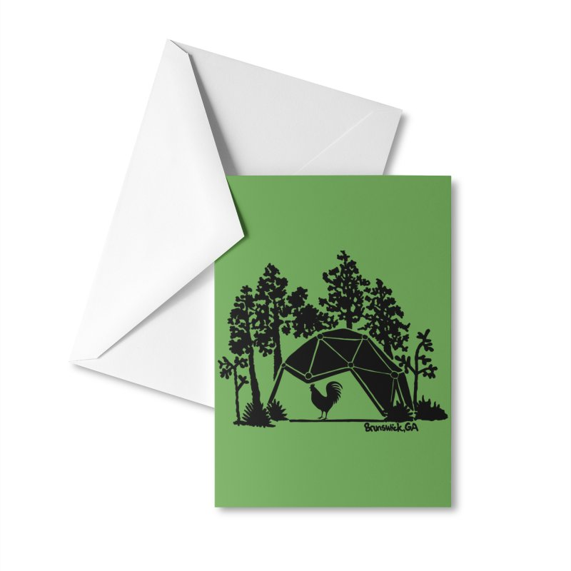 Hostel in the Forest Dome Rooster green background Accessories Greeting Card by Hostel in the Forest