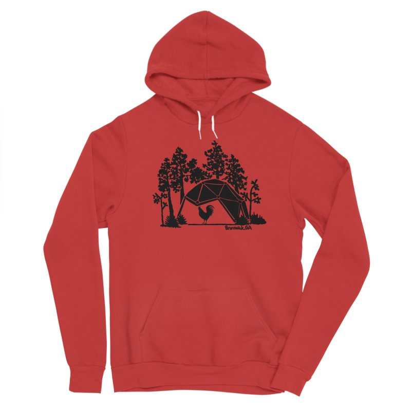 Hostel in the Forest Dome Rooster, on a green background Women's Pullover Hoody by Hostel in the Forest