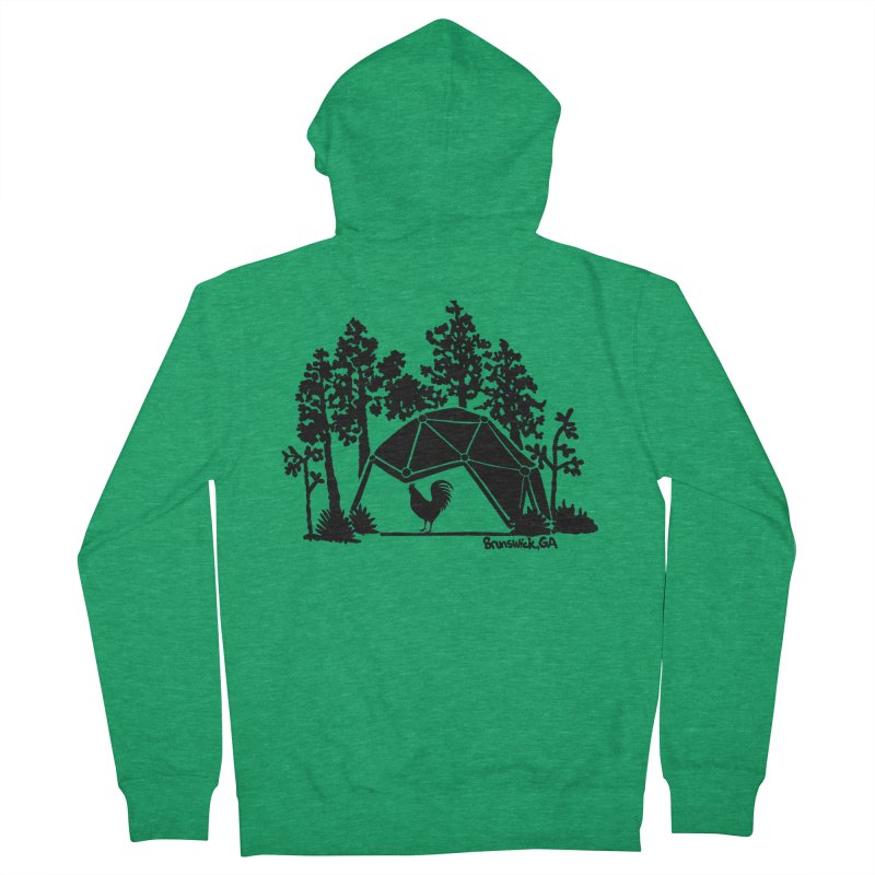 Hostel in the Forest Dome Rooster green background Women's Zip-Up Hoody by Hostel in the Forest