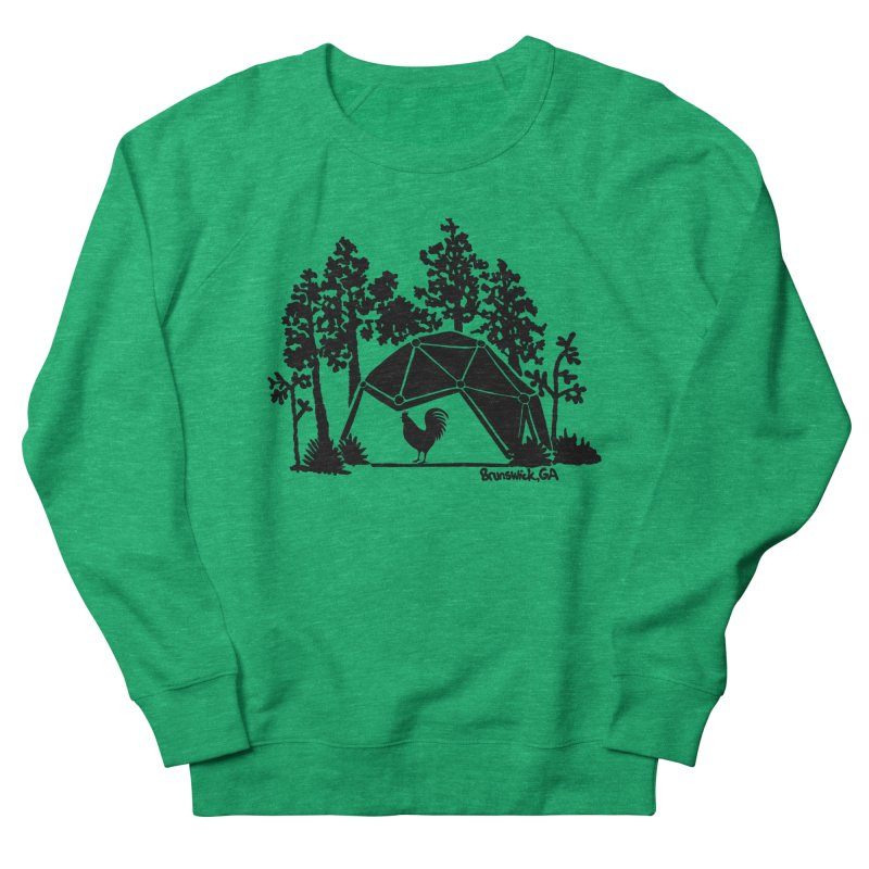Hostel in the Forest Dome Rooster, on a green background Women's Sweatshirt by Hostel in the Forest