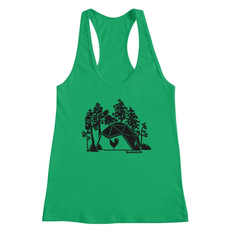 Hostel in the Forest Dome Rooster green background Women's Tank by Hostel in the Forest
