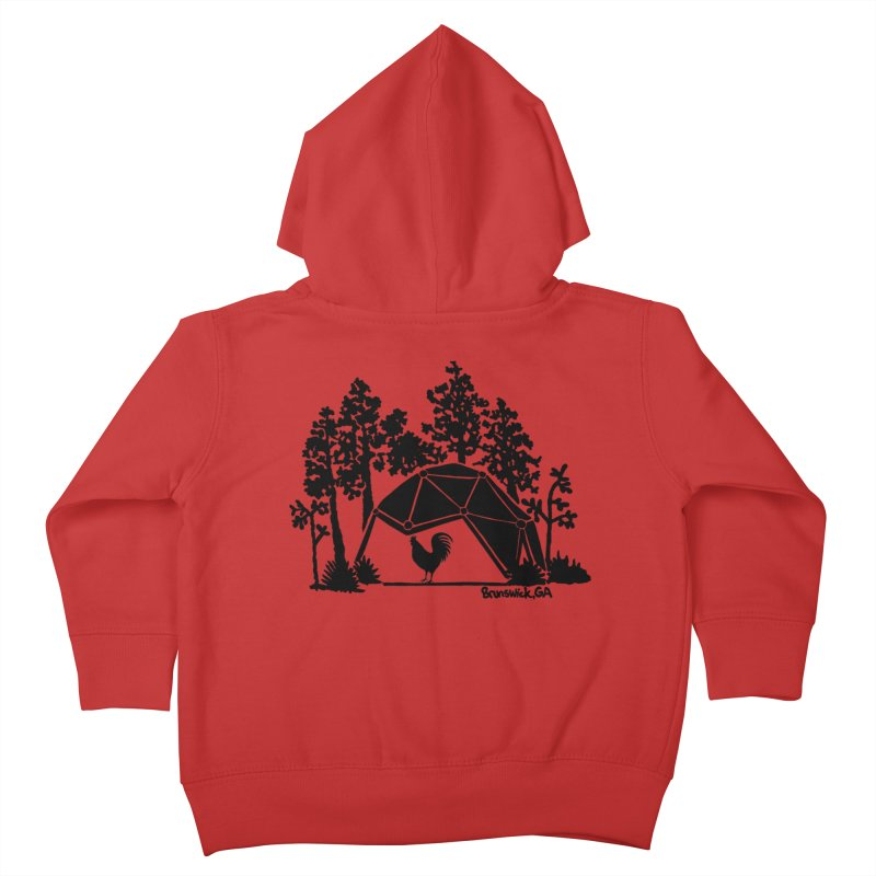 Hostel in the Forest Dome Rooster green background Kids Toddler Zip-Up Hoody by Hostel in the Forest