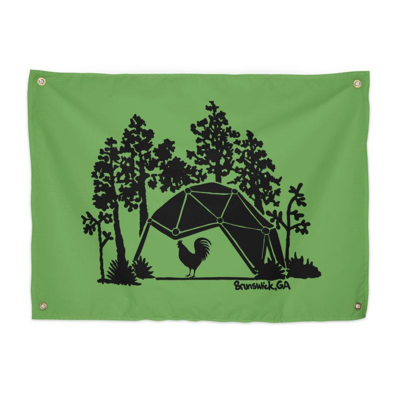 Hostel in the Forest Dome Rooster, on a green background Home Tapestry by Hostel in the Forest