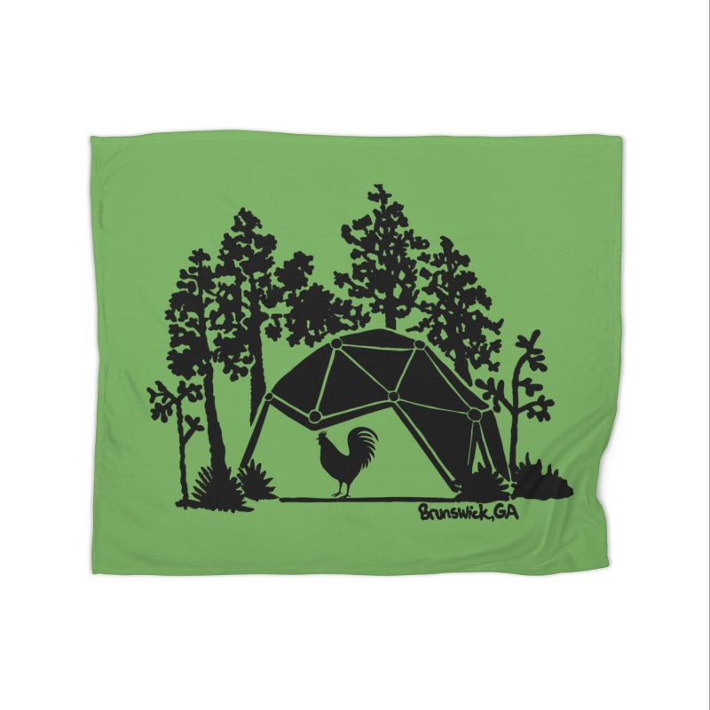 Hostel in the Forest Dome Rooster green background Home Blanket by Hostel in the Forest