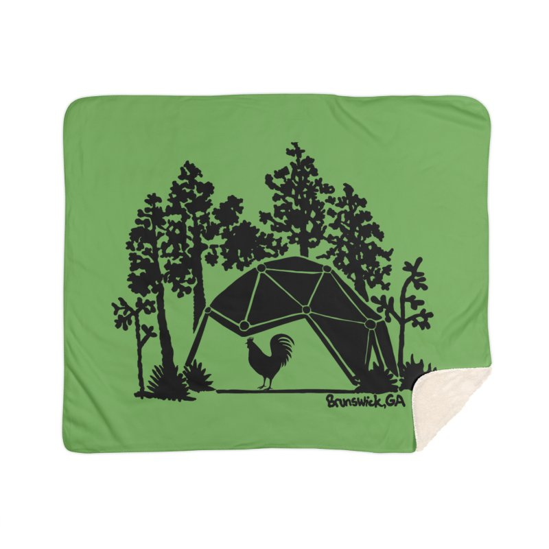 Hostel in the Forest Dome Rooster, on a green background Home Blanket by Hostel in the Forest