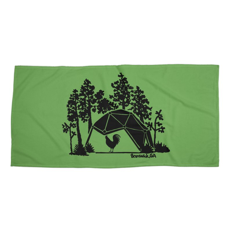Hostel in the Forest Dome Rooster, on a green background Accessories Beach Towel by Hostel in the Forest