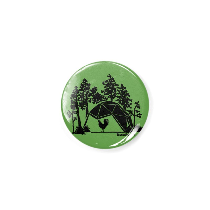 Hostel in the Forest Dome Rooster, on a green background Accessories Button by Hostel in the Forest