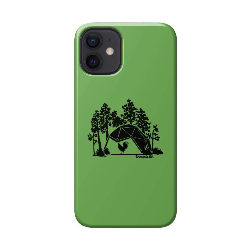 Hostel in the Forest Dome Rooster, on a green background Accessories Phone Case by Hostel in the Forest
