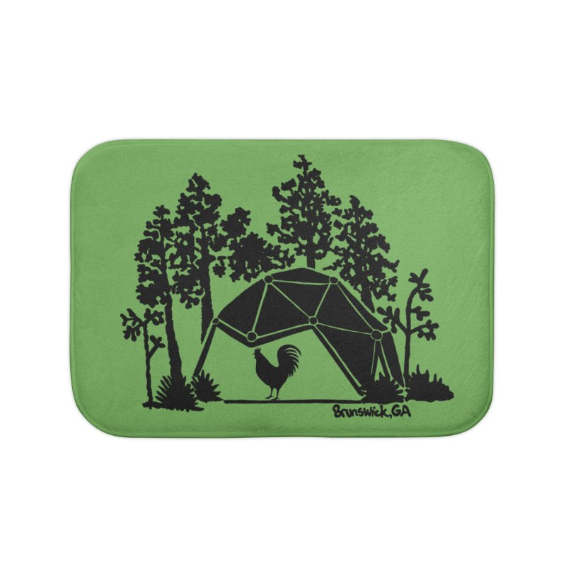 Hostel in the Forest Dome Rooster, on a green background Home Bath Mat by Hostel in the Forest