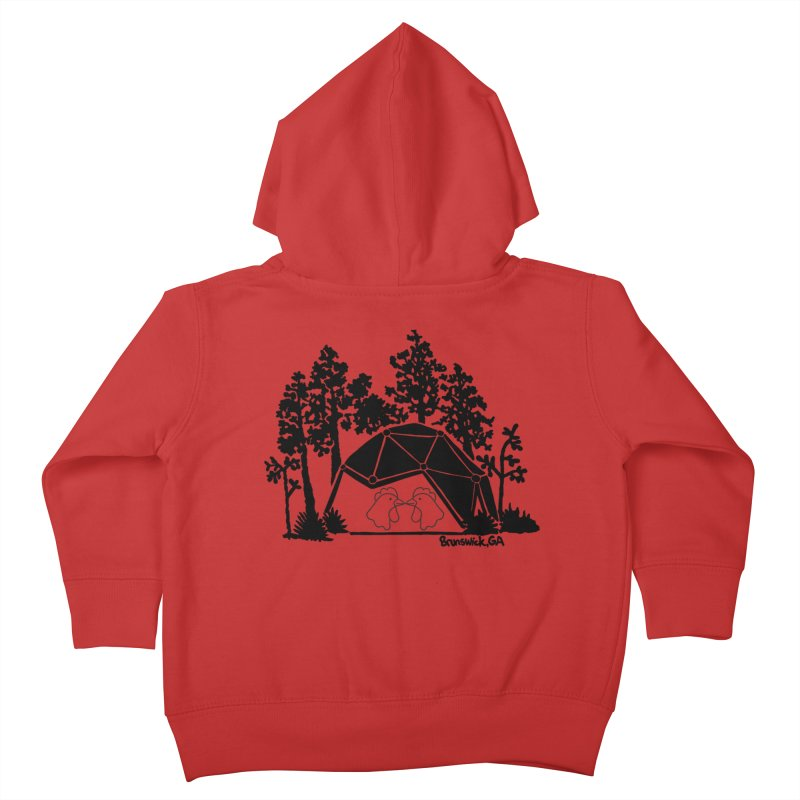 Hostel in the Forest Dome Chickens green background Kids Toddler Zip-Up Hoody by Hostel in the Forest