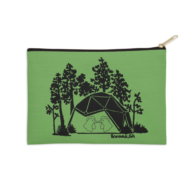 Hostel in the Forest Dome Chickens, on a green background Accessories Zip Pouch by Hostel in the Forest
